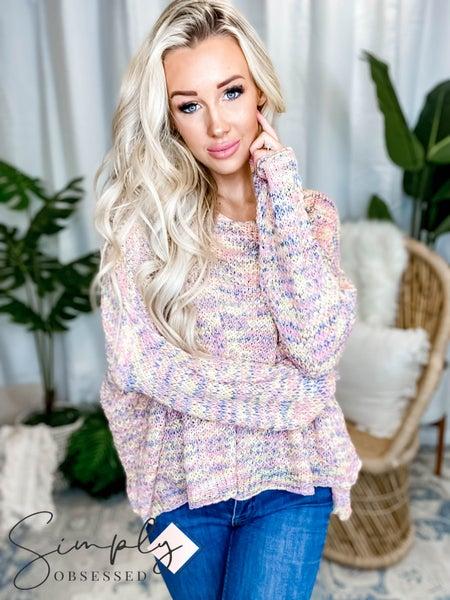 Blue B - Multi Color V Neck Long Sleeve Sweater
