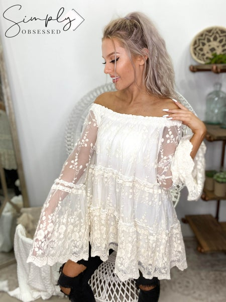 ODDI - Tiered Sheer Embroidered Lace Blouse With Ruffled Long Sleeves (plus)