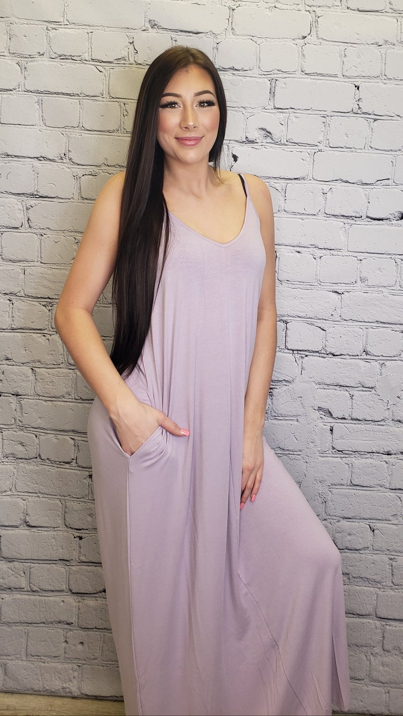 Solid spaghetti strap maxi dress with adjustable straps