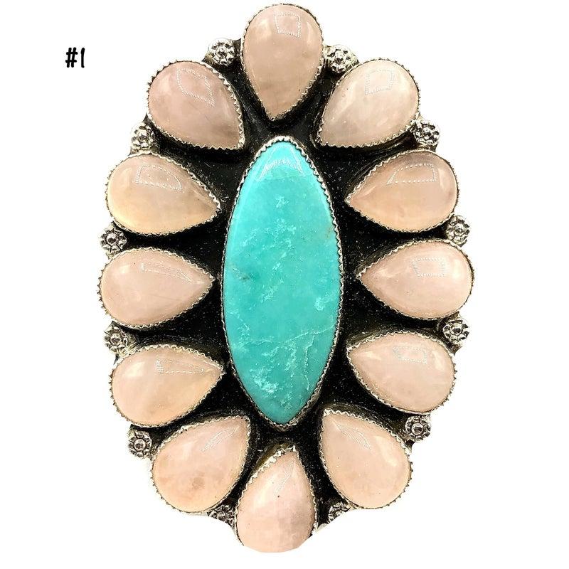 M & S - Turquoise W/Rose Quartz Cluster Ring
