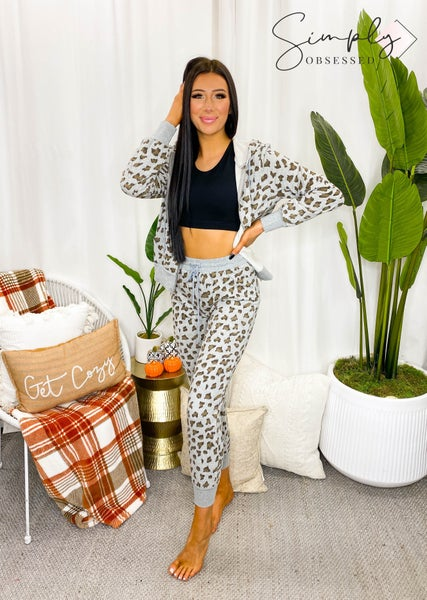 Blue B - Leopard print zip up hooded jacket with drawstring elastic joggers set
