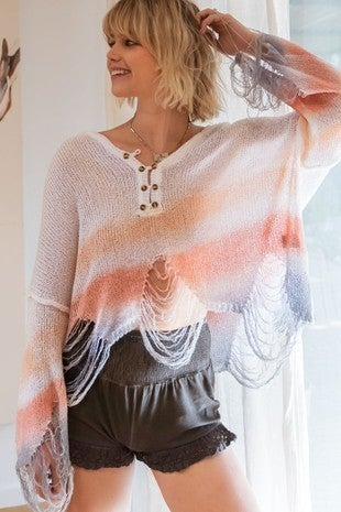 POL - Tie Dye Knit Lightweight Sweater