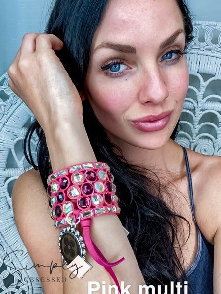 UpCycled - Pink/Iridescent Circle Rhinestone Cuffs