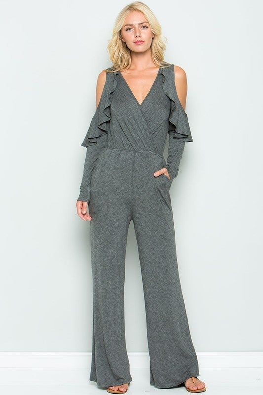SWEET LOVELY-Colder Shoulder Ruffles Sleeve Jumpsuit With Pockets