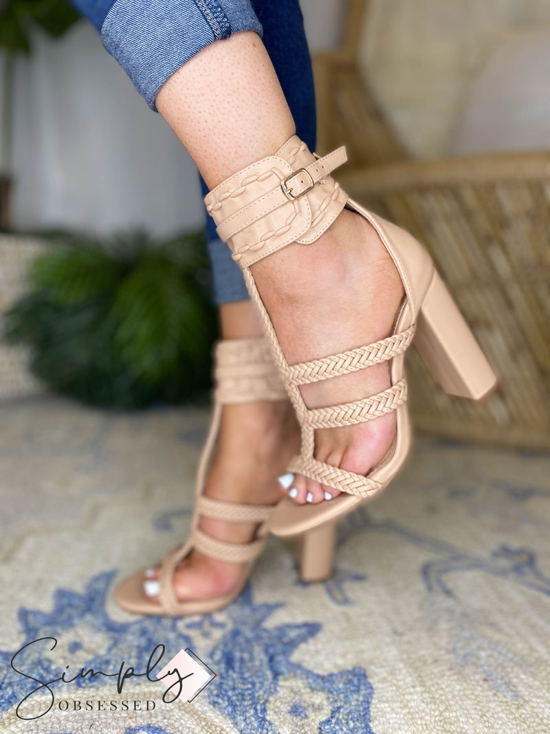 Olivia - Braided Strap Block Heeled Sandals