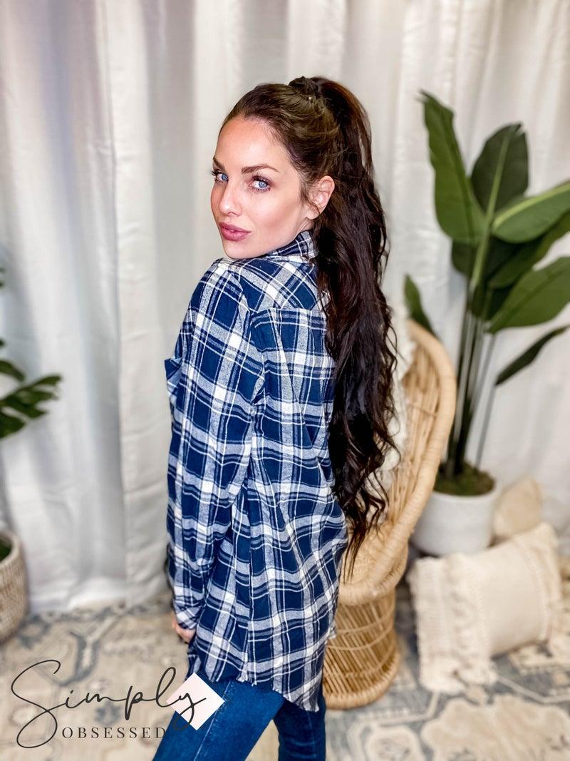 Jodifl - Plaid Button Up Flannel w/Pockets