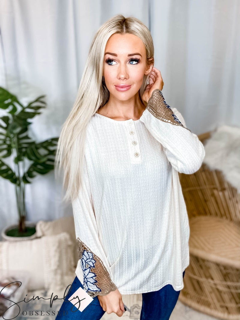 Hailey & Co - Wood button detail knit long sleeve top