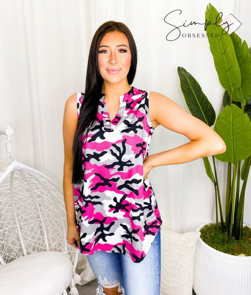 Sew In Love - Camo tank with v-neck