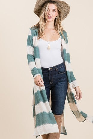 Lime N Chilli - Long sleeve side slit open striped cardigan