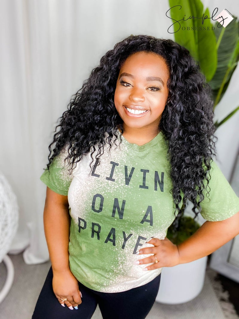 """The light blonde- Bleached short sleeve graphic tee """"Livin on a prayer"""""""