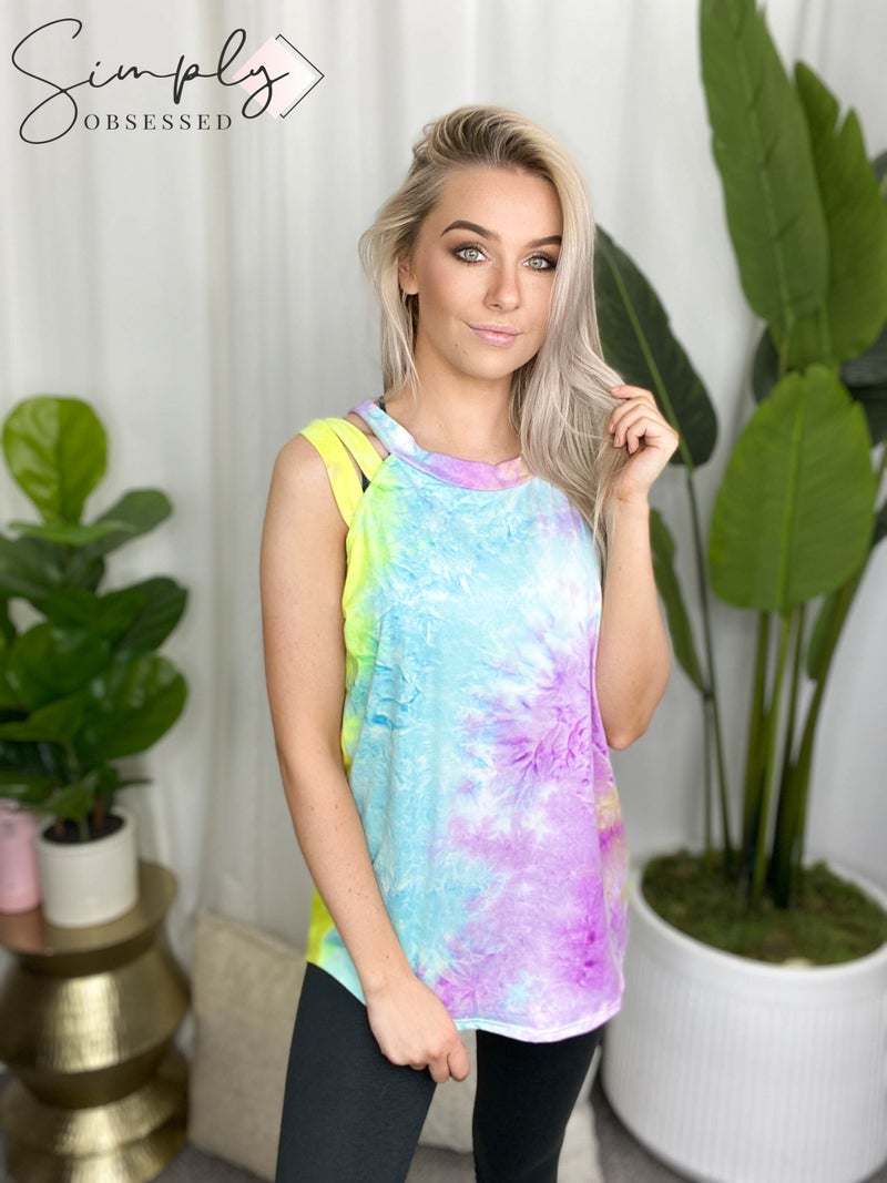White Birch - Sleeveless tie dye knit top with round neck and criss cross detail