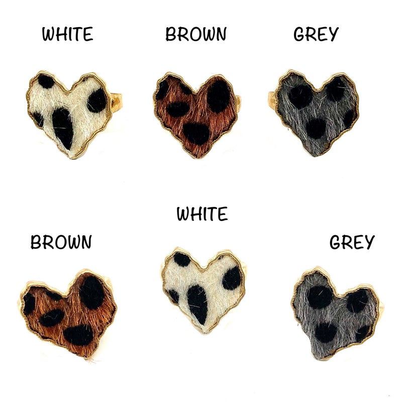 Urbanista - Faux Fur Heart Shaped Animal Print Adjustable Ring
