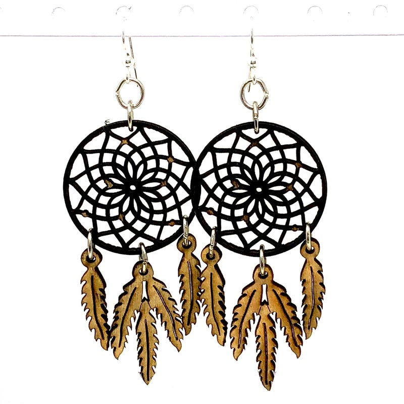 Wooden Dreamcathcer Feather Earrings