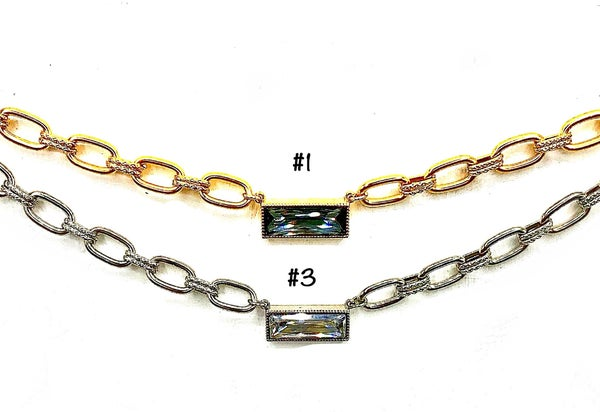 Detailed Link Chain Choker Necklace w/Large Bar