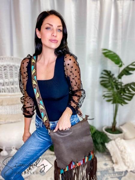 American Darling - Multi Colored Saddle Blanket Crossbody Bag W/Fringe