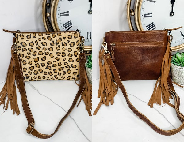 American Darling - Cheetah print small fringe handbag