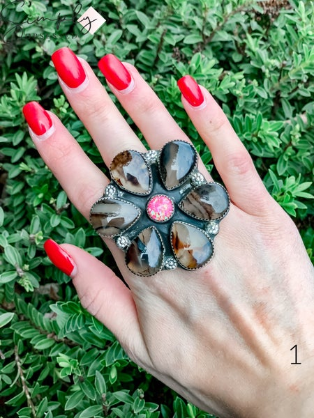 M & S - Cow w/ Hot Pink Opal Flower Ring