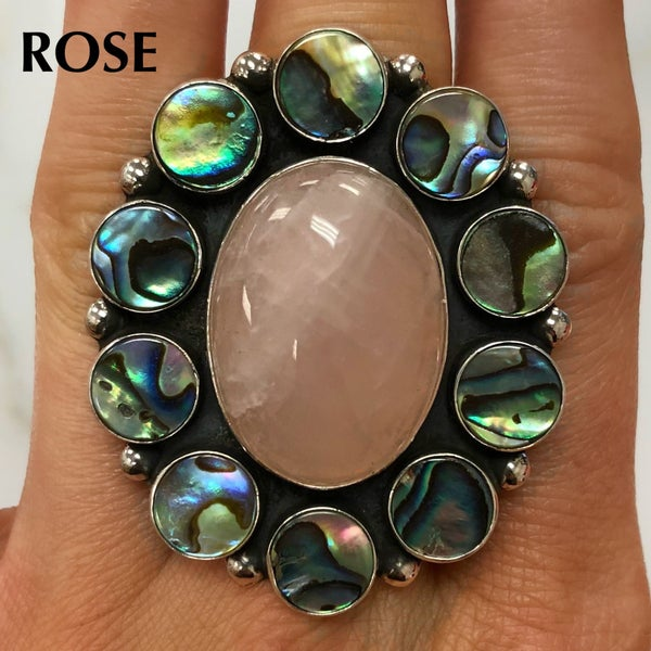 M&S Sterling Silver - Rose Quartz w/Abalone Clusters