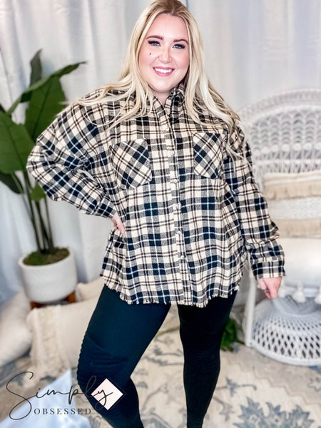White Birch - Long sleeve plaid woven top(All Sizes)