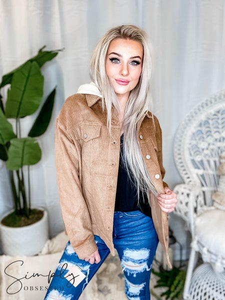 White Birch - Corduroy jacket with removable hood(All Sizes)