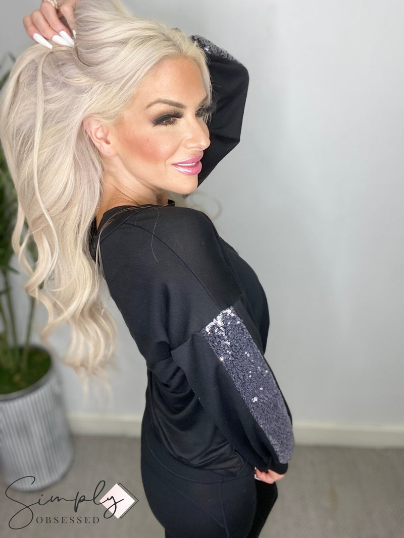 P.S. Kate - Long sleeve terry knit top with twisted front and sequin detail (all sizes)