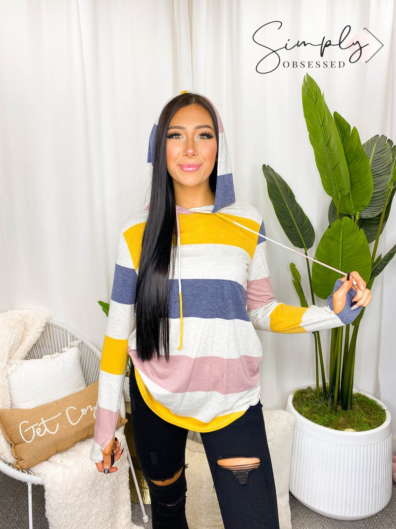 Sew In Love - Striped Long Sleeve Hoodie Top (All Sizes)