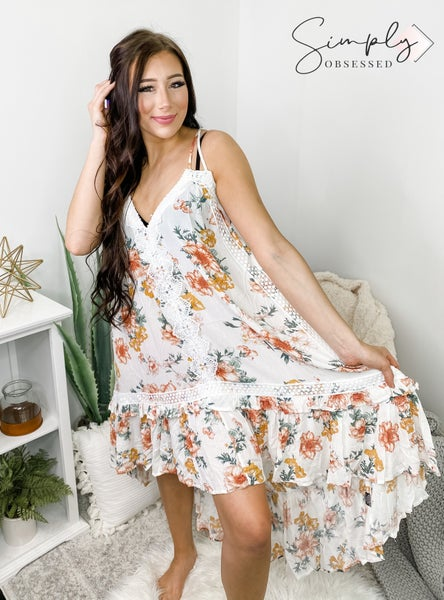 POL BOHO Floral Dress with Lace Detail