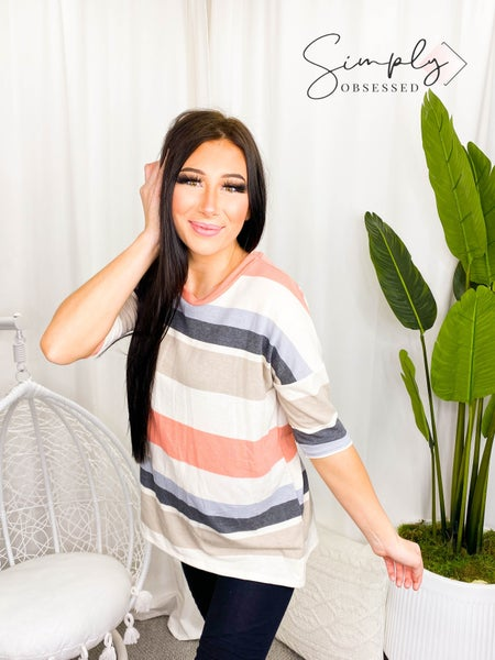 Sew In Love - Short sleeve loose fit striped top