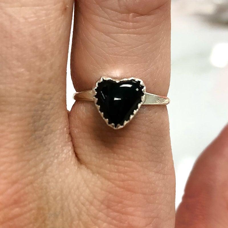M&S Sterling Silver - Dainty Black Onyx Heart Ring