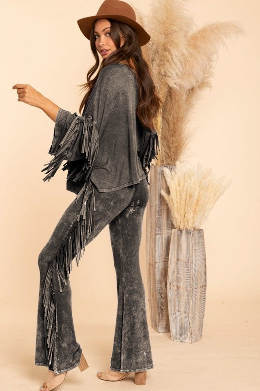 Blue Buttercup - Mineral Dyed Fringe Top