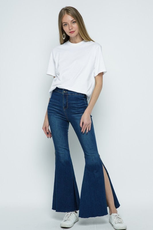 Blue B - Stilt Bell Bottom High Waisted Denim Jeans