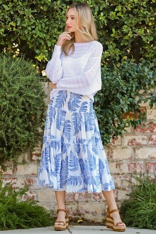 EE:Some - Tropical Print Tiered Maxi Skirt