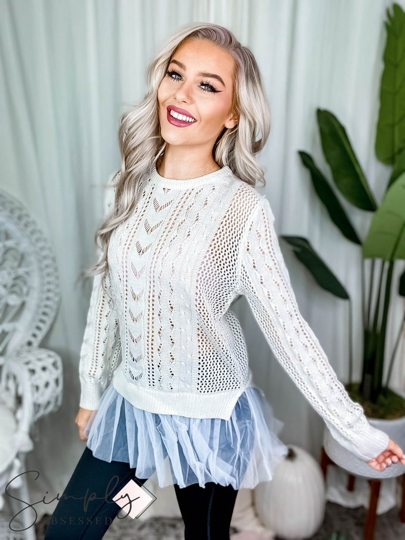 Pol - Crochet cable lace seam sweater