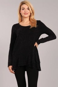 Chatoyant - Long sleeve tunic top with flared ruffle bottom