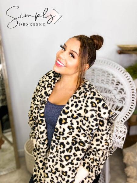 Hem & Thread - Leopard print soft open hooded jacket