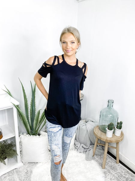 BiBi - Jersey knit top with cold shoulder sleeves and criss cross strap detail