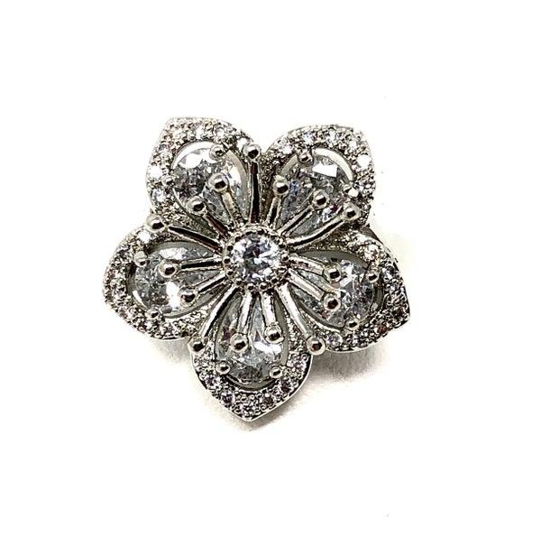 Floral Baguette CZ Ring