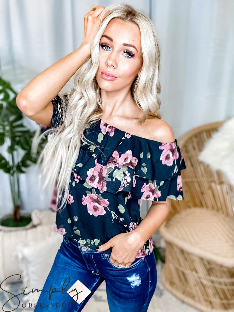 Oddi -Off shoulder floral woven top with layered ruffle top