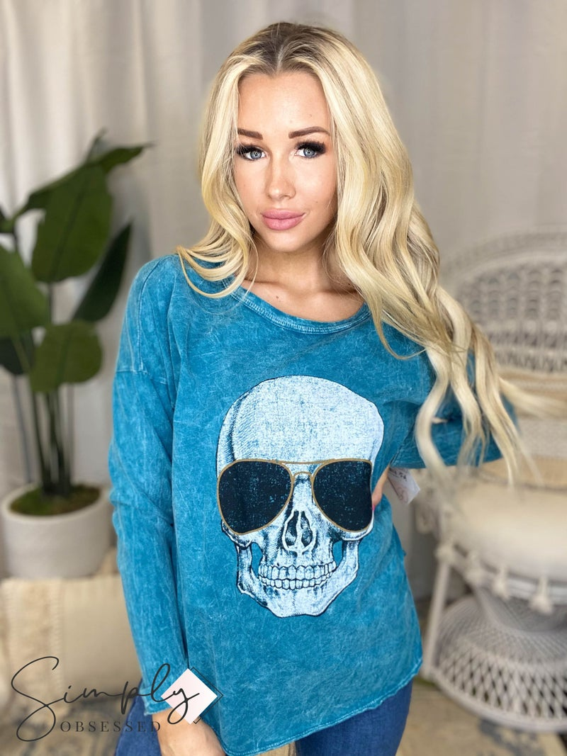 Blue Buttercup - Mineral Dyed Top w/ Skull Print