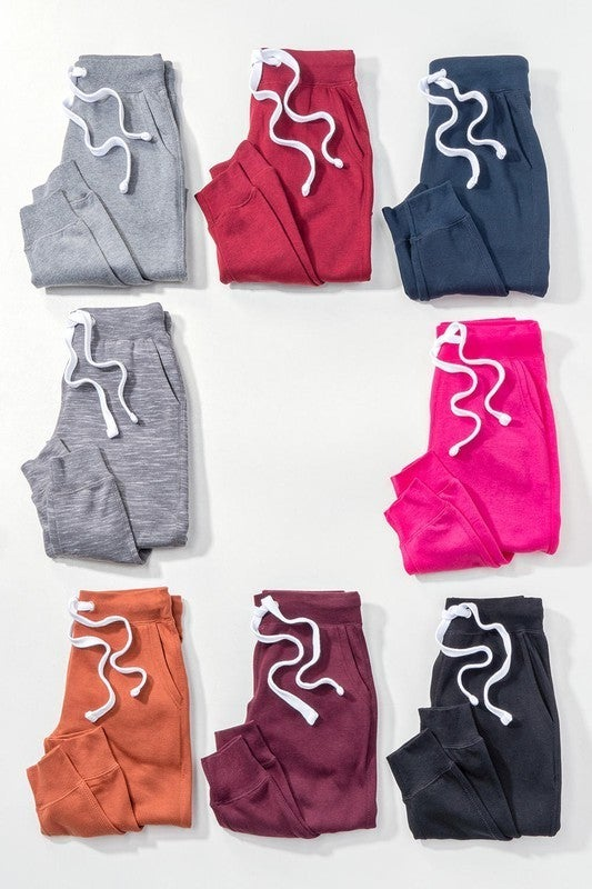 TREND NOTES-Draw String Fleece Joggers