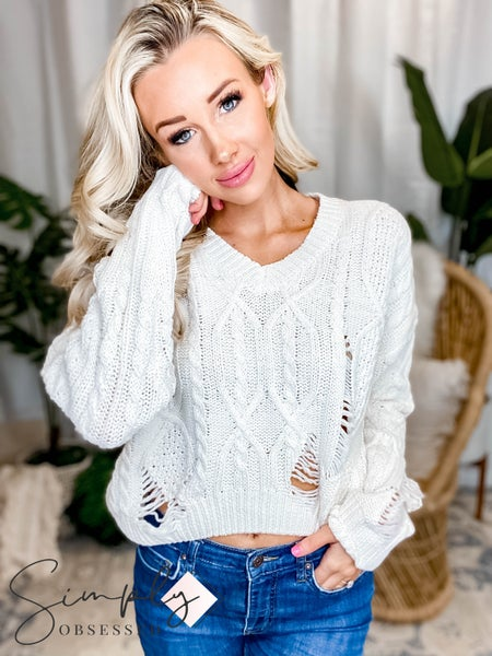 Blue B - Pullover Ripped V Neck Sweater Top