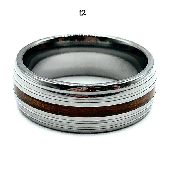 Men's Tungsten Ring Wood with White
