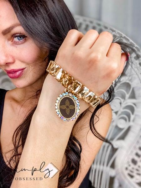 UpCycled - Gold LV Rhinestone Stretch Bracelet