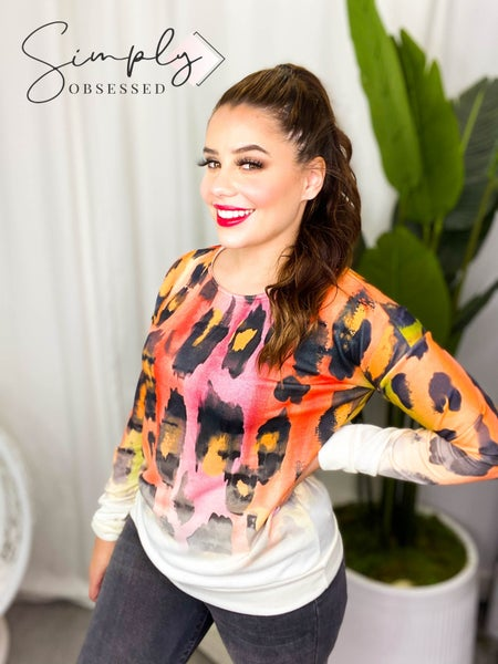 Sweet Claire - Long sleeve soft watercolor leopard print top