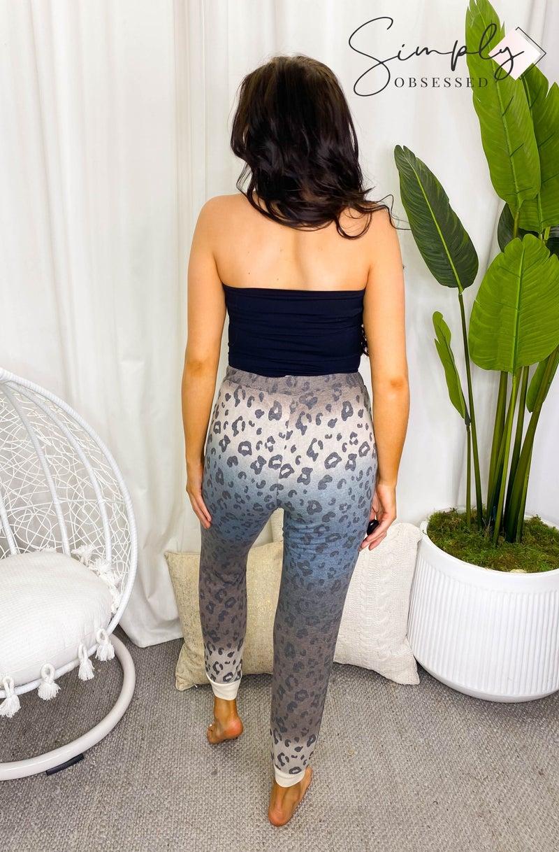 Honey Me - Animal print faded elastic waist band joggers (all sizes)