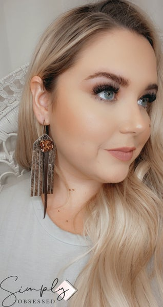 Leather Hide Earrings with Large Gem