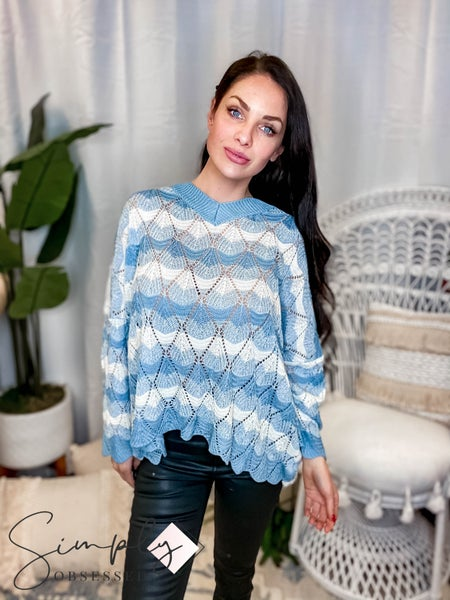 Easel - Multi color knit bell sleeve sweater knit top