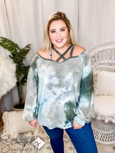 Oddi - Tie dye brushed knit cross strap cut off shoulder top(All Sizes)