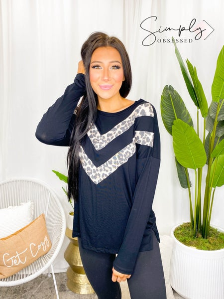 Sew In Love - Long Sleeve Round Neck Top with Leopard Chevron Print