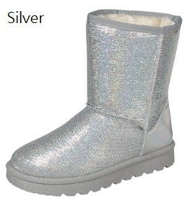 FOREVER-Sequined Low Heel Snow Boots